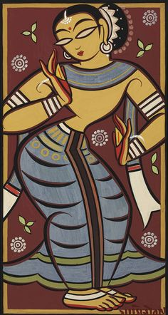 Jamini Roy Untitled (Dancing Yogini) — The style of this beautiful artwork is very representative of Indian art as it is today. I could definitely draw out my reference pictures with this technique for more authenticity to my own culture Madhubani Art, Madhubani Painting, Krishna Painting, Buddha Kunst, Buddha Art, Indian Folk Art, Indian Artist, Artist Painting, Painting & Drawing