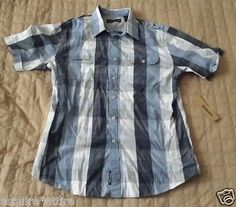 DKNY short sleeve #shirt size M blue with plaid patern visit our ebay store at  http://stores.ebay.com/esquirestore
