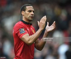 Rio Ferdinand of Manchester United applauds the fans after the Barclays Premier League match between Manchester United and Norwich City at…
