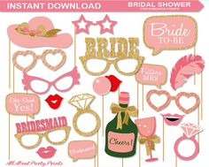 INSTANT DOWNLOAD-Bridal Shower Photobooth Props Printable Pack