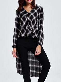 High-Low Checked Shirt Collar Long Sleeve Shirt