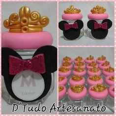 Potinho de geléia, brigadeiro ou balinhas, tema Minnie princesa #dtudoartesanato #artesanato #minnie #potegeleia #biscuit #feitopormim #elo7