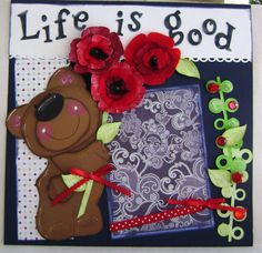 Scrapbook Premade Pages Bear Paper Piecing by kitsnbitscraps