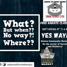 Did someone say Free Karate?! Did we just become best friends?!? #AdamsKempo #dentonslacker #MartialArts #Karate #SelfDefense #Kids #Fun #Free #doingitdenton #communitymarket #dentoncommunitymarket #wedentondoit #wddi #dentonite #thedentonite #thedentontraveler #denton #dentontx #dentoning #dentonaut #discoverdenton