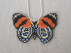 Items similar to Tropical Butterfly Beaded Pendant & 18 Inch Sterling Silver Chain on Etsy Bead Jewellery, Seed Bead Jewelry, Beaded Jewelry, Native Beading Patterns, Seed Bead Patterns, Seed Bead Necklace, Beaded Earrings, Brick Stitch Earrings, Bead Crochet Rope