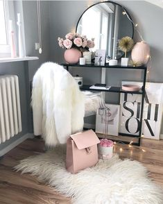 43 Inexpensive Feminine Makeup Room Design Ideas That Women Must Have Decoration Bedroom, Teen Room Decor, Home Office Decor, Teen Bedroom, Office Furniture, Bedroom Ideas, Bedrooms, Built In Dressing Table, Dressing Table Organisation