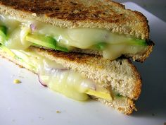 Mexican Grilled Cheese. Jack cheese, red onion, avocado, jalapeño.