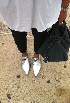 Silver metallic brogues