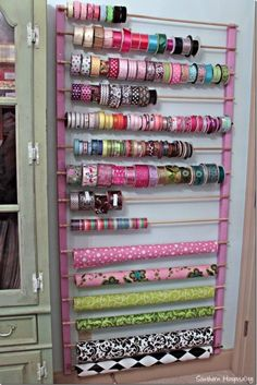 Sewing room storage - lots and lots of pegboard Craft Room Ideas On A Budget, Budget Crafts, Ribbon Holders, Thread Holder, Craft Room Design, Craft Room Decor, Craft Room Tables, Design Bathroom, Bathroom Ideas