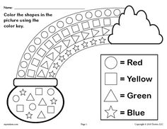 Patrick's Day themed shapes coloring worksheet is great for practicing shape recognition, color recognition, fine motor skills, and more with your preschoolers and kindergartners. Shapes Worksheet Kindergarten, Shapes Worksheets, Kindergarten Worksheets, Preschool Activities, Preschool Printables, Free Printables, Preschool Journals, Preschool Shapes, Rainbow Activities