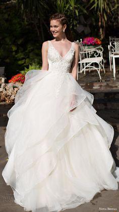 OMGOMGOMGOMGOMG!!!!!!!!! noya bridal 2016 sleeveless straps vneck aline ball gown wedding dress (1209) romantic princess mv