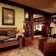 Home Design and Decor , Craftsman Interior Decorating Styles : Craftsman Interior Decorating Styles With Wallpaper And Hanging Wall Art
