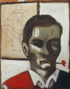 "Pier Paolo Pasolini, ""Self-Portrait with a Flower in His Mouth"" (1947). Oil on hardboard, 16.73 x 13.58 x .78 inches."