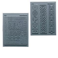 Stamp, Lisa Pavelka Signature Series, silicone, grey, 4-3/4x5-1/2 inch finely detailed square with cultural detail. Sold per pkg of 2.