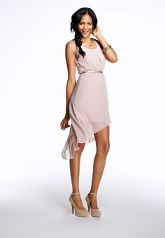 Belted Chiffon High-low Open Back Jeweled Dress - maurices.com