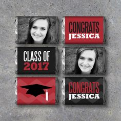 Congratulate your favorite Grad with these Graduation Mini Candy Bar Wrappers! Personalized with your Grad's photo, name and school color, they're perfect for graduation parties or as a gift for the new grad! I've also included a free set of blank wrappers so you can add your own sentiments! Great for all graduations: Kindergarten, Jr. High, High School and College!  WHEN YOU ORDER: 1. Provide graduate's name and school color in NOTES TO STUDIO 120 UNDERGROUND. 2. Email desired photo to…