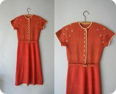 1930s vintage dress / 30s knit dress / by RueDeVeniseVintage