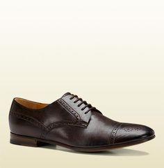 scarpa stringata in pelle brogueing marrone