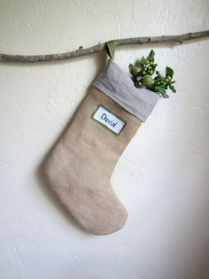 9d78a9ff618 ON SALE Custom linen and burlap Christmas stocking by agoodhome