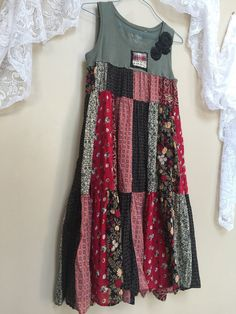 Upcycled Shabby Boho Chic patchwork Maxi Dress by Cathrineann