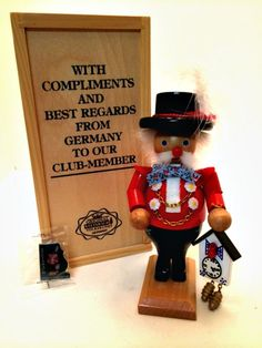German Steinbach Nutcracker Black Forest Clock Maker Club Member Wooden Box  #Steinbach