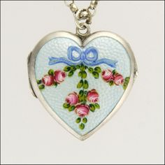 Silver Enamel Heart Locket & Chain Necklace- Circa 1910 GBP 175.00