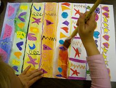 Kinder Pattern Paintings - have kids draw patterns of shapes with crayon, paint over that and then use a large template like a fish shape.  cut that out.