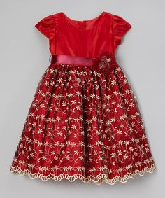 Another great find on #zulily! Red Embroidered Rosette Cap-Sleeve Dress - Toddler & Girls #zulilyfinds