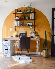 Home Office Design, Home Office Decor, House Design, Living Room Decor, Bedroom Decor, Bedroom Wall Designs, New Room, Home Decor Inspiration, Yellow Accent Walls