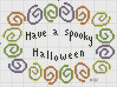 Free Have a Spooky Halloween Cross Stitch Pattern - Printable Halloween Chart: Free Color Symbol Have a Spooky Halloween Cross Stitch Pattern - Free Printable