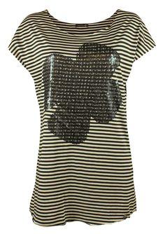 #Stribet #t-shirt med #paliet blomst foran - Online hos #Tankestrejf.dk