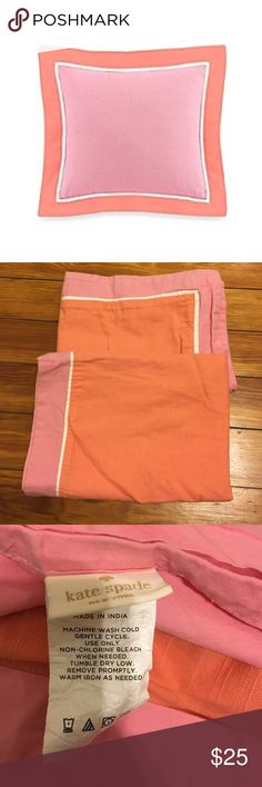 Kate Spade queen shams 💯 cotton pink/orange 2 queen shams- New York Spring Street collection from Kate Spade. First picture is just for the colour scheme, mine are Queen size: orange with pink trim. Looks like linens-crisp and classic. Back side button closure. Soft and beautiful. kate spade Other