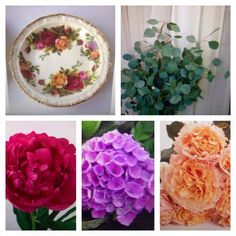 #vintagewedding #theskinnyvase #theskinnyvasellc Peony, Hydrangea, Garden Rose, Silver Dollar Euclayptus. 1960's Plates.