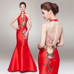 Mandarin collar floor length mermaid evening gown peony floral embroidered modern Chinese bridal wedding dress 002