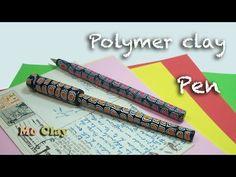 How-to make easy Polymer Clay pen - Bolígrafo en arcilla polimérica - Penna decorata con Fimo Polymer Clay Pens, Easy Polymer Clay, Polymer Clay Animals, Polymer Clay Miniatures, Polymer Clay Projects, Clay Keychain, How To Make Clay, Clay Design, Clay Tutorials
