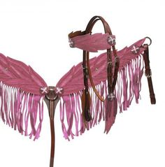Fringed Angel Wing Headstall and Breast Collar Sets