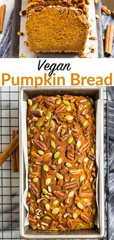 Moist, DELICIOUS vegan pumpkin bread made with applesauce and no oil! EASY, packed with fall spices, and naturally sweetened, this recipe is the best!#dairyfree #vegan #vegetarian #fall @wellplated