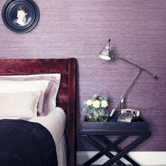 Purple bedroom ideas – Purple decor ideas – Purple colour scheme Florist's Dream wallpaper Purple Bedroom Design, Lilac Bedroom, Purple Bedrooms, Bedroom Paint Colors, Master Bedroom Design, Bedroom Designs, Master Suite, Bedroom Small, Guest Bedrooms