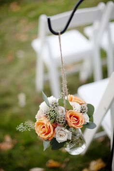 Wedding ceremony flowers, wedding aisle décor, pew flowers, wedding flowers, add pic source on comment and we will update it. www.myfloweraffair.com can create this beautiful wedding flower look.