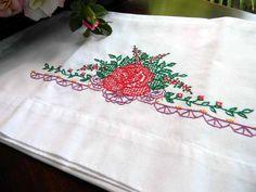 Vintage Cotton Blend Embroidered  Pillow Case by VintageKeepsakes, $7.46