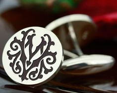 Silver Cufflinks Victorian Monogram MV VM MyPersonalJewellery.co.uk