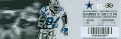 December 15, 2013, Dallas Cowboys vs Green Bay Packers, Cowboys Stadium, Arlington, Texas - Ticket Stub Cowboys Stadium, Dallas Cowboys, Green Bay Packers, Dallas Cowboys Football