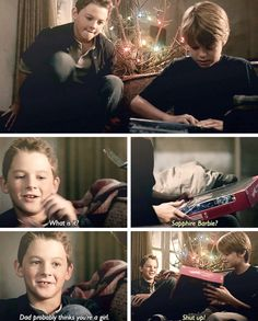 """Supernatural A Very Supernatural Christmas [gifset] - """"Dad probably things you're a girl."""" - young Sam and Dean Winchester; Supernatural Season 3, Supernatural Christmas, Supernatural Merchandise, Funny Supernatural Memes, Supernatural Bloopers, Supernatural Tumblr, Supernatural Tattoo, Supernatural Imagines, Dean Winchester"""
