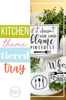 """Funny """"If it doesn't taste good blame Pinterest"""" farmhouse black and white mini wood sign. Perfect for kitchen, dining room or coffee bar/station tiered tray displays, but would also look great displayed on its own!"""