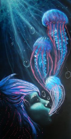 Creature breather by youpheh on DeviantArt Painting Inspiration, Art Inspo, Jellyfish Art, Psy Art, Visionary Art, Psychedelic Art, Fractal Art, Vintage Posters, Fantasy Art