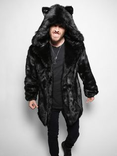 Black Panther faux fur animal inspired Jacket (100% Vegan). Available in Small, Medium & Large (unisex).