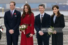 Prince William, Duke of Cambridge (L), Catherine, Duchess of Cambridge (2nd L), Crown Prince Frederik of Denmark (2nd R) and Crown Princess Mary of Denmark (R) arrive for a visit to the UNICEF emergency supply centre on November 2, 2011 in Copenhagen, Denmark.