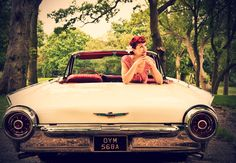 Susannah Fields (vintage project gallery) - Katia wearing fifties clothing shot with 1950s Thunderbird