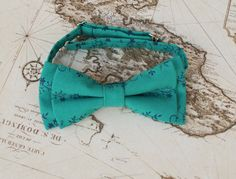 Bow tie for men vintage floral print  green bow by KristineBridal, $38.28