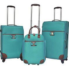 travelers club luggage paradise 3pc softside luggage set